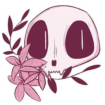 floral cat skull by socialllama