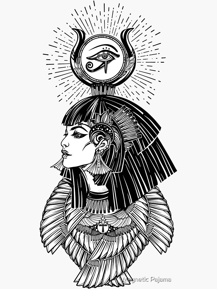 Egyptian Goddess with Eye of Horus, Ankh & 6 Feathers by MagneticMama