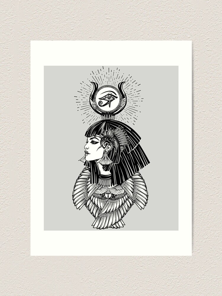 Alternate view of Egyptian Goddess with Eye of Horus, Ankh & 6 Feathers Art Print