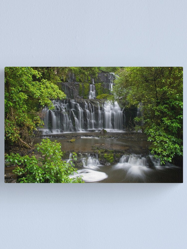 Alternate view of Purakaunui water falls, New Zealand Canvas Print