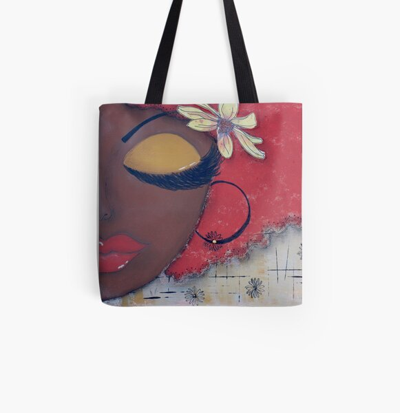 Sassy Chocolate Girl, African American All Over Print Tote Bag