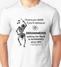 Rude Drummer Skeleton Unisex T-Shirt