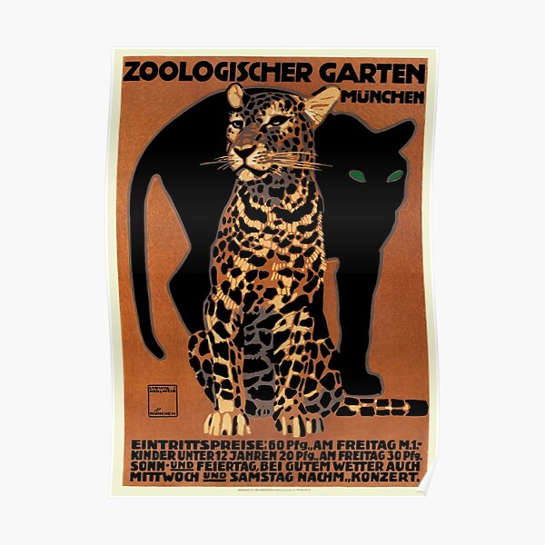 1912 Ludwig Hohlwein Leopard Munich Zoo Poster Póster