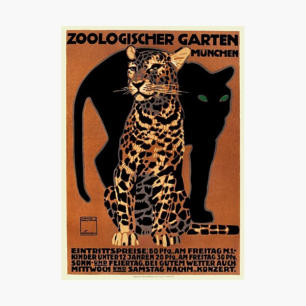 1912 Ludwig Hohlwein Leopard Munich Zoo Poster Photographic Print