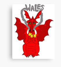 Welsh Dragon with daffodils Canvas Print