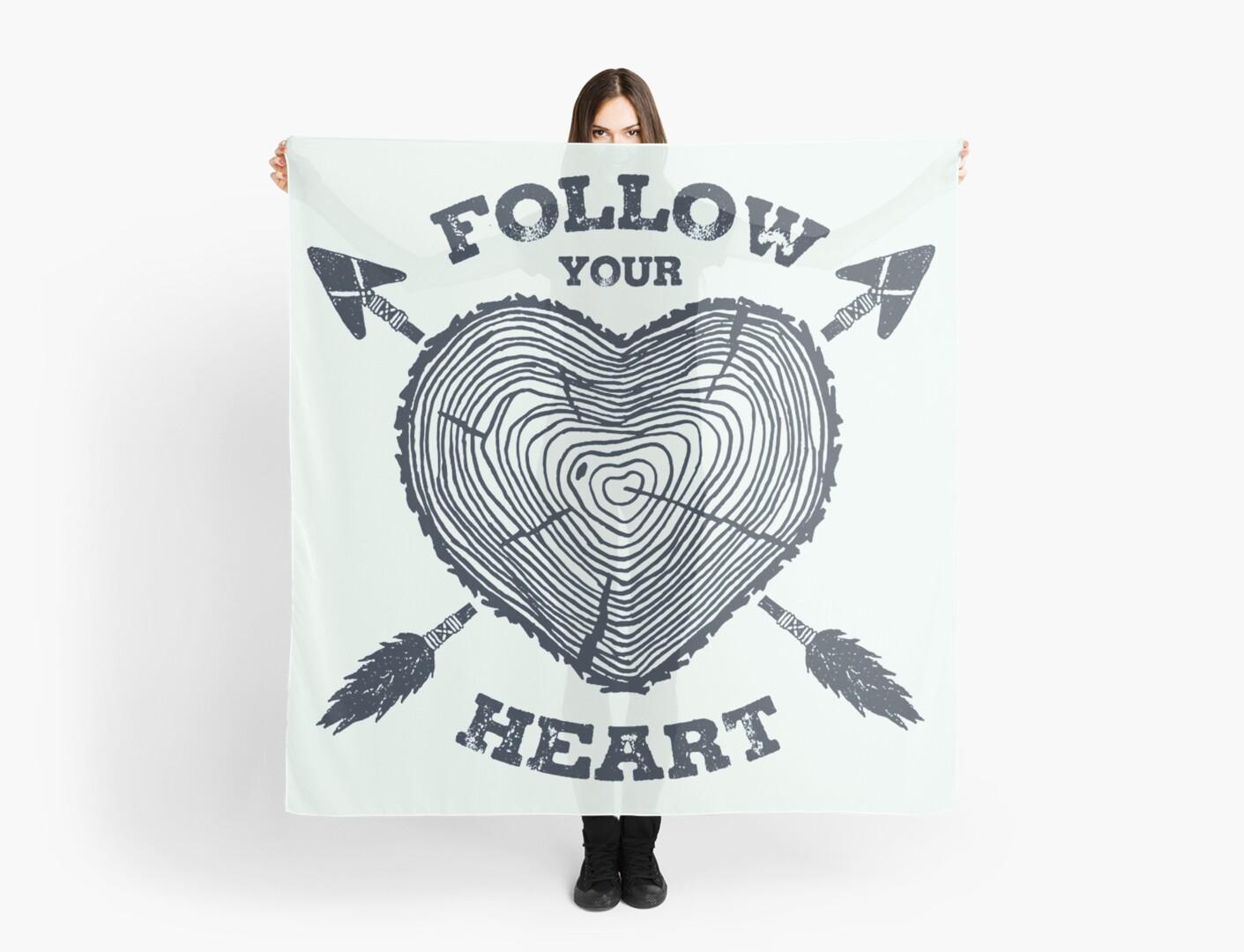 Follow Your Heart Wanderlust Heart Shaped Tree Trunk Scarves By