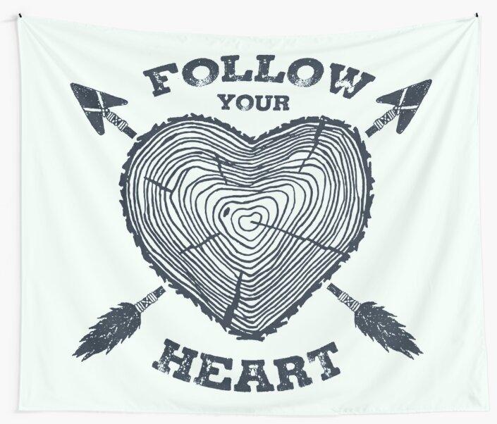 Follow Your Heart Wanderlust Heart Shaped Tree Trunk Wall