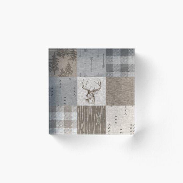 Deer Patchwork - Rustic Neutrals Acrylic Block