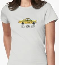 NYC Checker Cab Paxi Pixel 8-Bit Gift For New York Lovers Women's Fitted T-Shirt