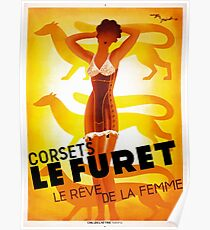 Vintage Fashion, French corset company, Art Deco Poster