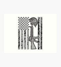 U.S Army and U.S.A Flag Grey and Black Art Print