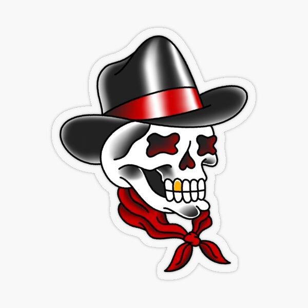 American Traditional Cowboy Skull Transparent Sticker
