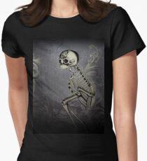 Dark Gothic Scroll Skeleton Oddity Women's Fitted T-Shirt