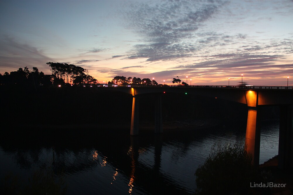 Sunset over the Noyo Bridge by LindaJBazor