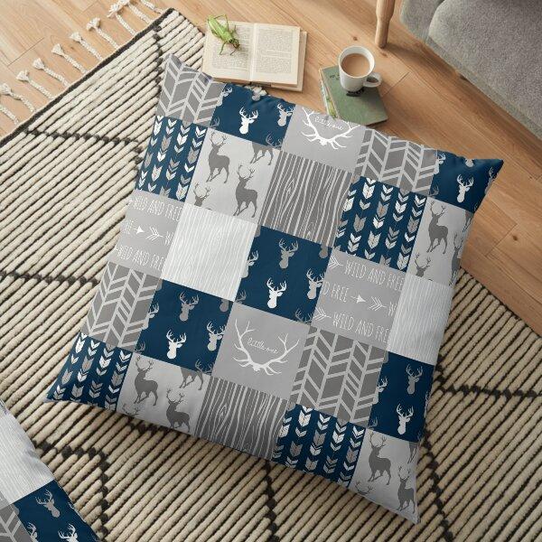 Patchwork Woodland - navy and grey Floor Pillow