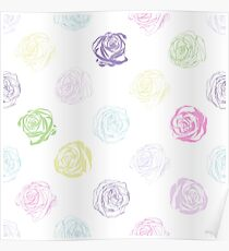Black and white pattern in roses with contours.  Poster