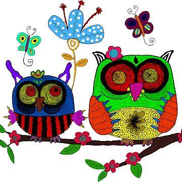 trippy owlz by drawinghurts