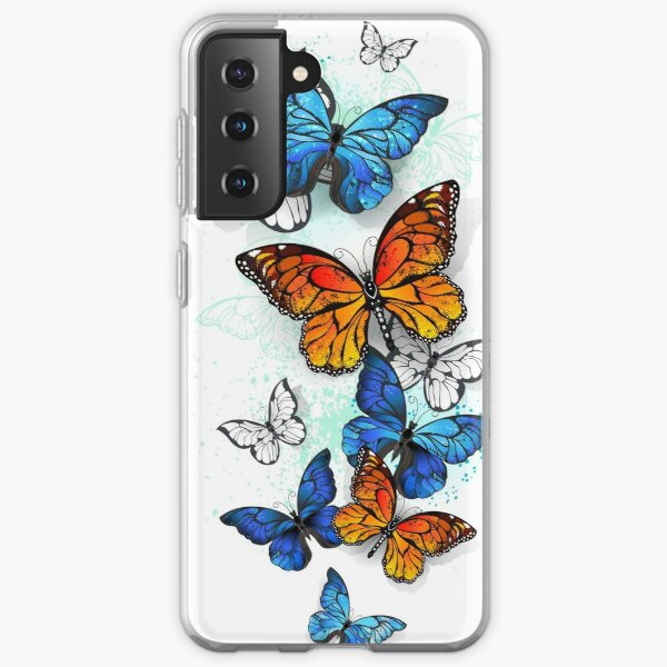 Flying Butterflies Morpho and Monarch Samsung Galaxy Soft Case