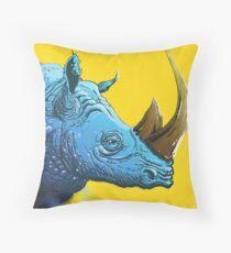 Blue Rhino on Yellow Background Throw Pillow