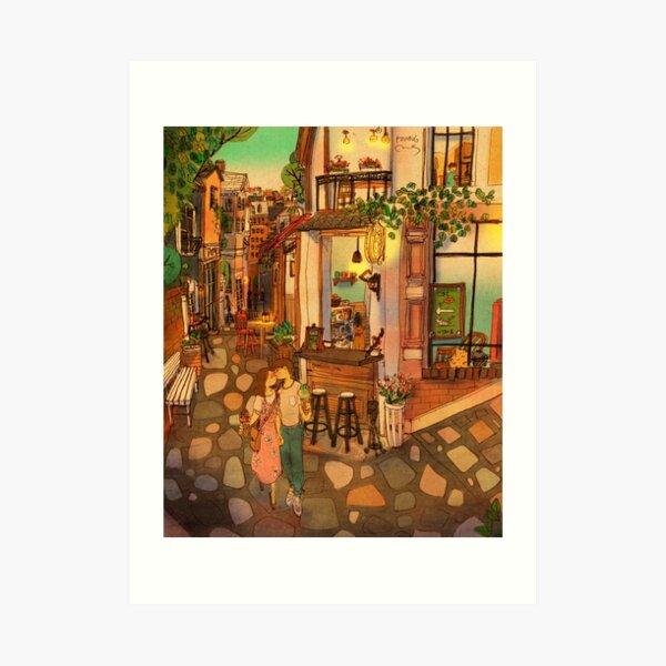 Alley of cafés Art Print