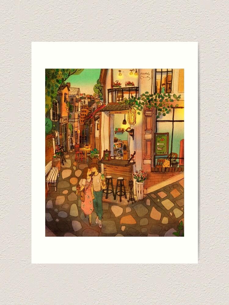 Alternate view of Alley of cafés Art Print