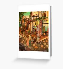 Alley of cafés Greeting Card