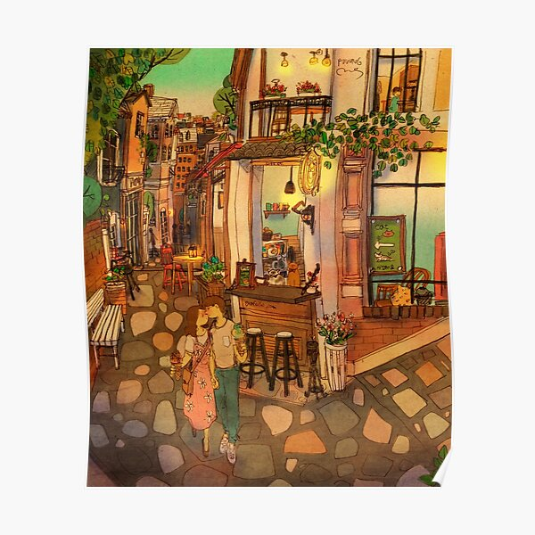 Alley of cafés Poster