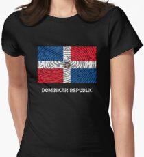 Dominican Republic T-Shirt Fingerprint Distressed Flag Women's Fitted T-Shirt