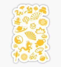 Happy Chinese New Year: Chinese Golden Decorations Sticker
