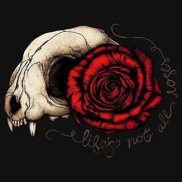 Life's Not All Roses - Cat Skull by darkwonderbrand