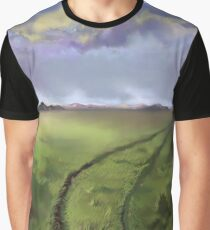Grassy field paddock with beautful clouds Mountain sunset scene with offroad car tracks L5r.  best selling, top selling redbubble art Graphic T-Shirt