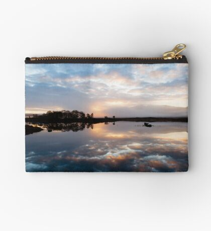 Pink and Blue Misty Sunrise Reflected in Loch Ba Zipper Pouch