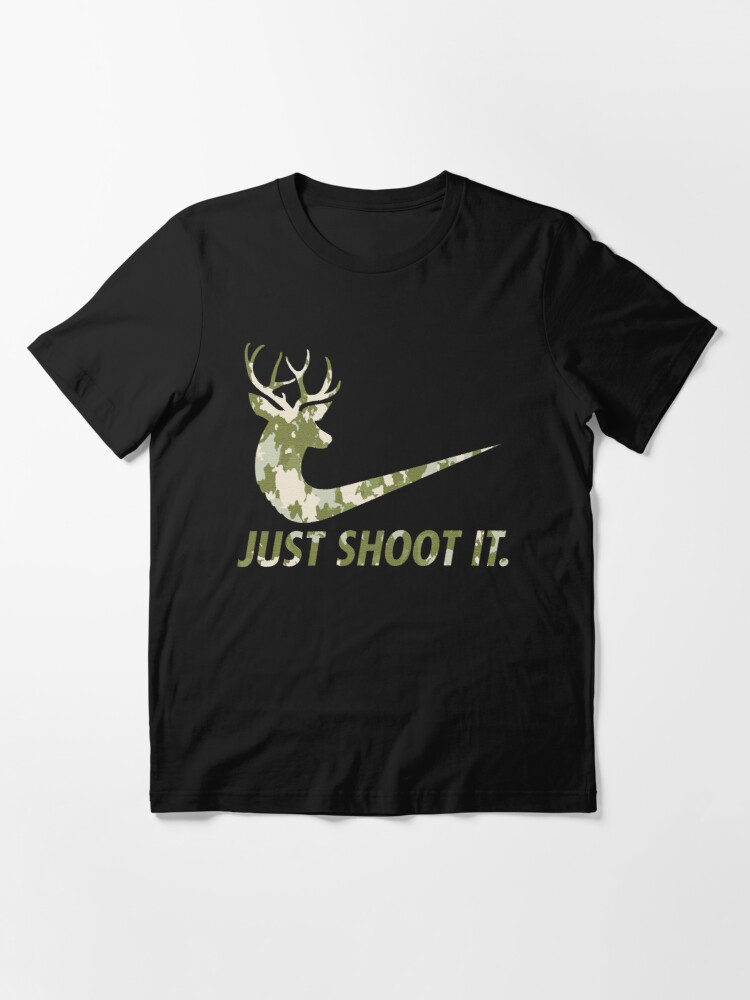 Alternate view of Just Shoot It Funny Hunting Nike Deer Fashion Essential T-Shirt