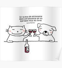 Wine philosophy / Cat doodle Poster