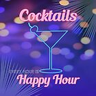Electric Blue and Pink Neon Cocktail Bar Happy Hour Sign by HotHibiscus