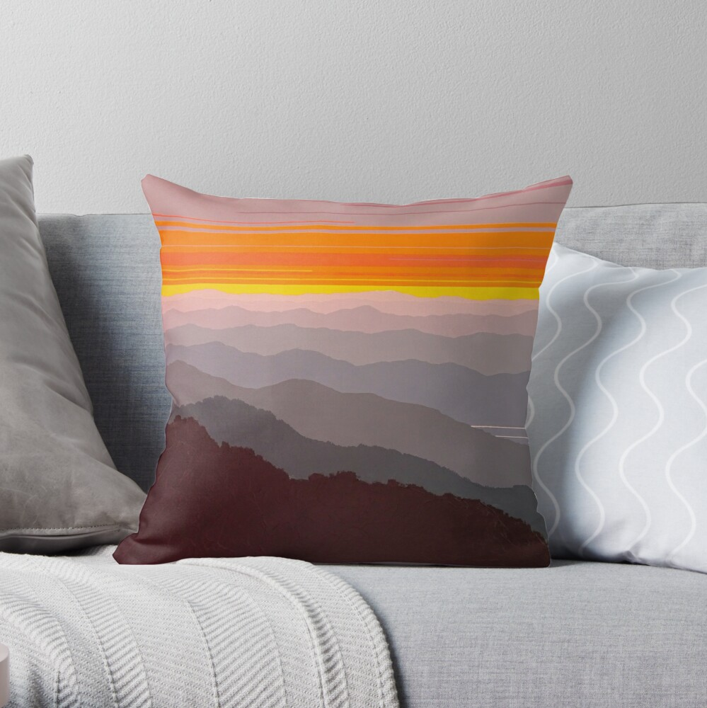 """Misty Mountain Morning"" #97 Throw Pillow"