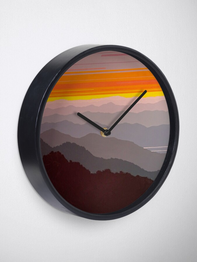 """Alternate view of """"Misty Mountain Morning"""" #97 Clock"""