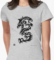 Black Only Chinese Tribal Dragon Women's Fitted T-Shirt
