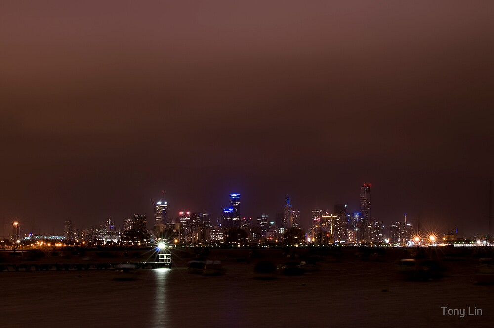 Melbourne from Williamstown at Night Long Exposure by Tony Lin