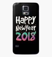 Happy New Year Shirt 2018 NYE Party T-Shirt Hülle & Klebefolie für Samsung Galaxy