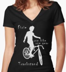Fixie - one bike one gear - Trackstand (black) Fitted V-Neck T-Shirt