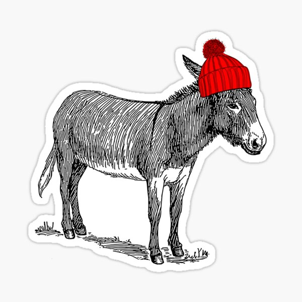 Donky Mule Burro wearing a beanie hat. Sticker