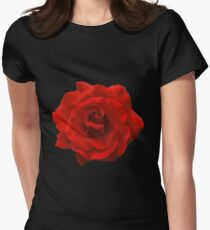 Single Red Rose. Womens Fitted T-Shirt