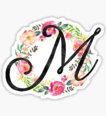 Floral M Monogram Sticker & T-Shirt - Gift For Maria Martha Sticker