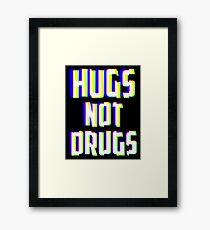 Hugs Not Drugs TV Glitch Effect - Anti-Drug Awareness Gift Framed Print