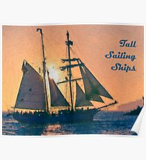Impasto stylized photo of the Tall Ship Exy Johnson off Dana Point, CA US. Poster
