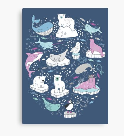 Arctic Animal Icebergs - blue and pink - fun pattern by Cecca Designs Canvas Print
