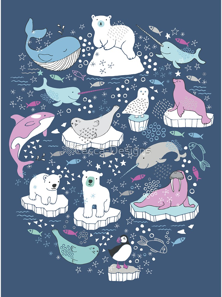 Arctic Animal Icebergs - blue and pink - fun pattern by Cecca Designs by Cecca-Designs