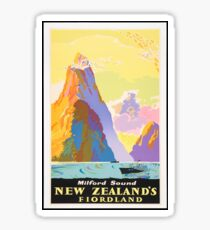 Vintage Travel Poster - Milford Sound, New Zealand's Fjordland Sticker