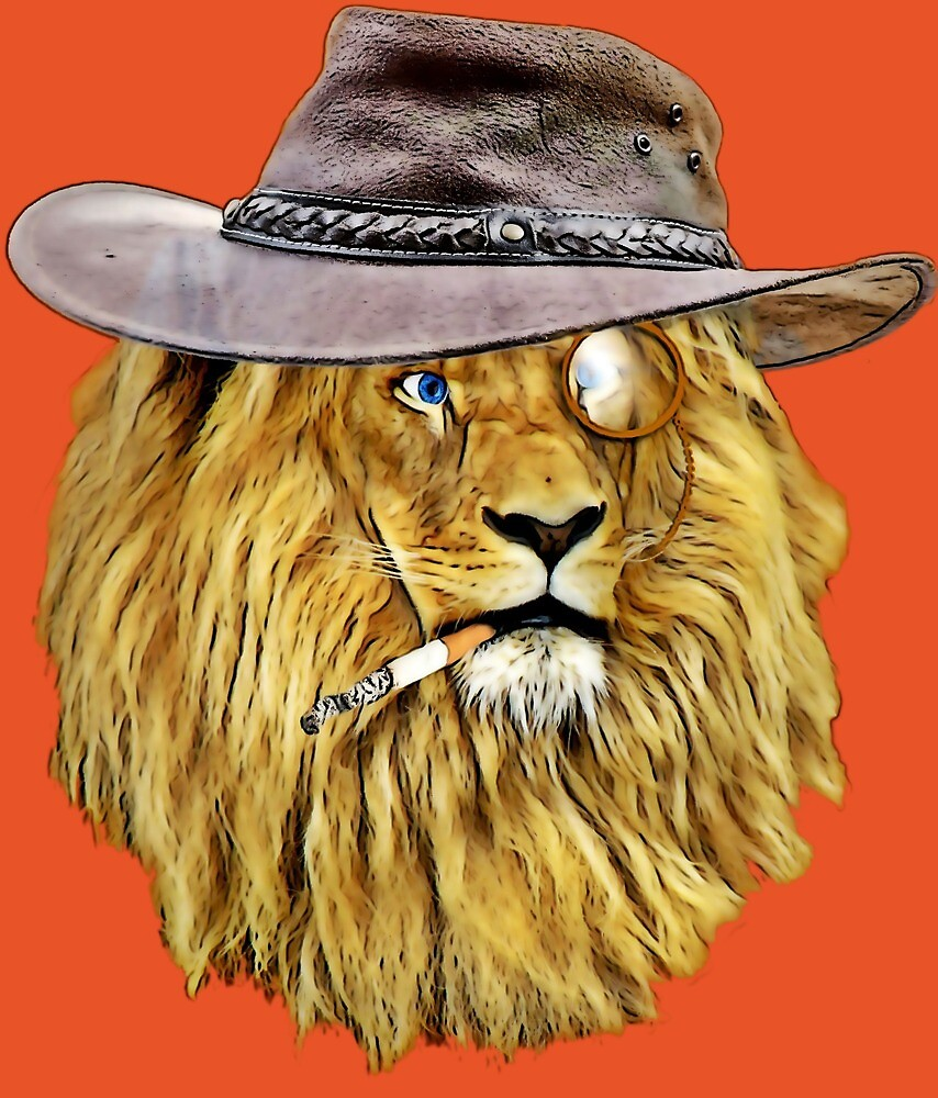 Lion with hat, cigarette, and monocle\